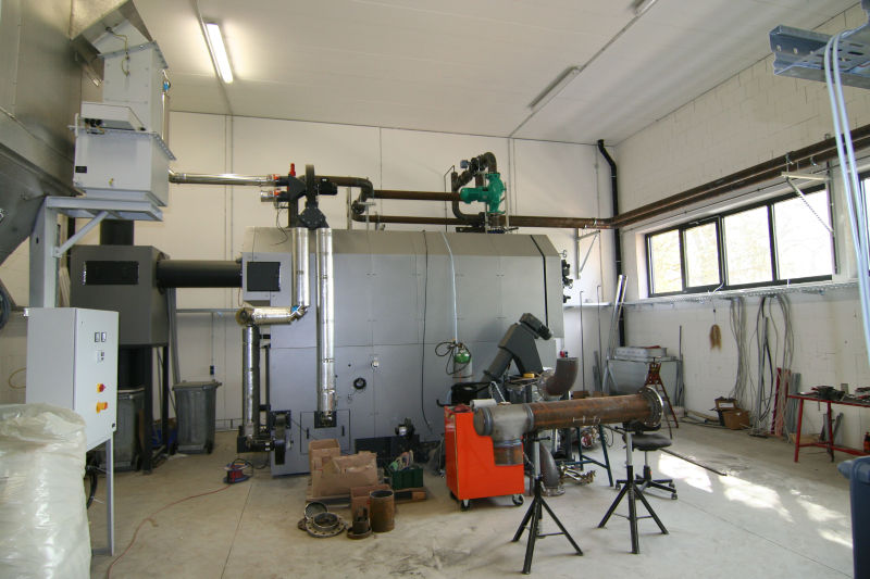 Pelletkesselanlage in Bauphase